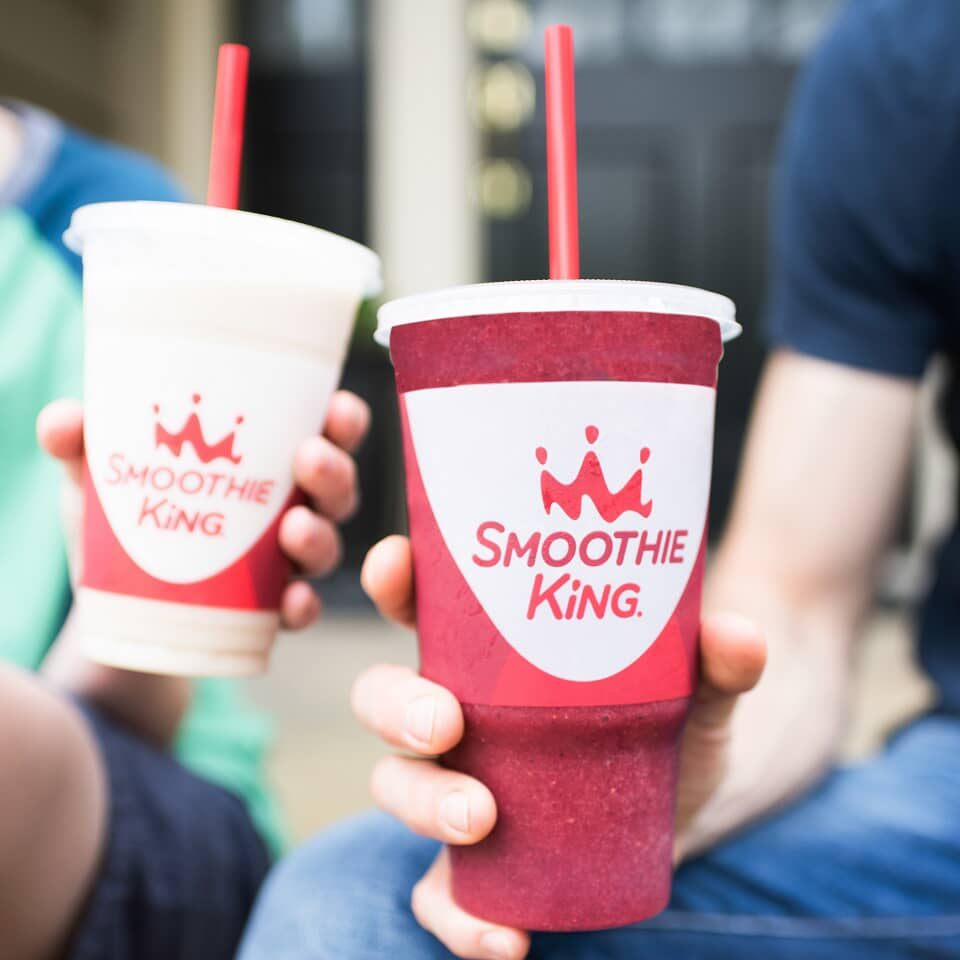 4 Smoothie King Smoothies with red straws