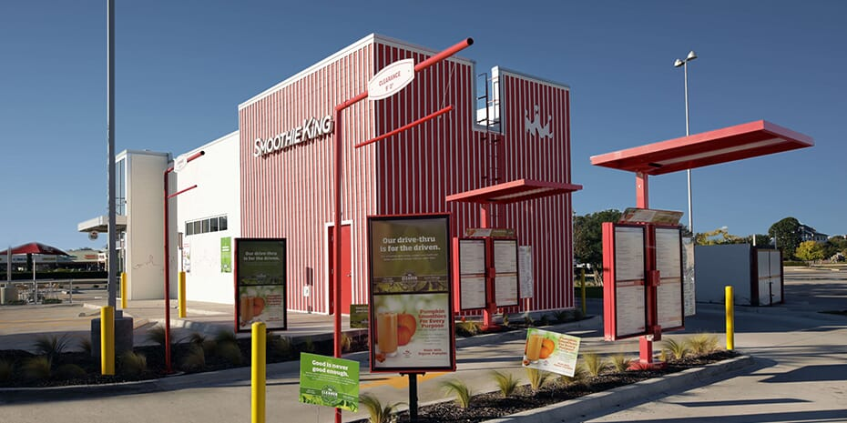 smoothie king franchise location exterior drive-thru