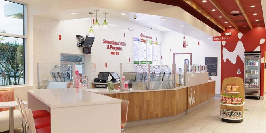 smoothie king restaurant franchise interior in front of bar